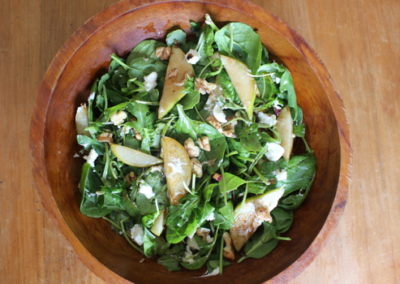 Caramelised Pear, Walnut & Goats Cheese Salad