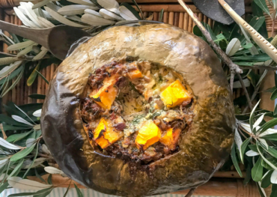 Baked Pumpkin Stuffed with Cheese & Veggies